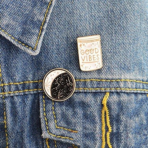 ink2055 2Pcs Brooch Pin Badge Good Vibes Polaris Ursa Major Denim Jacket Coat Suit Badges - Black + White by ink2055 (Image #1)