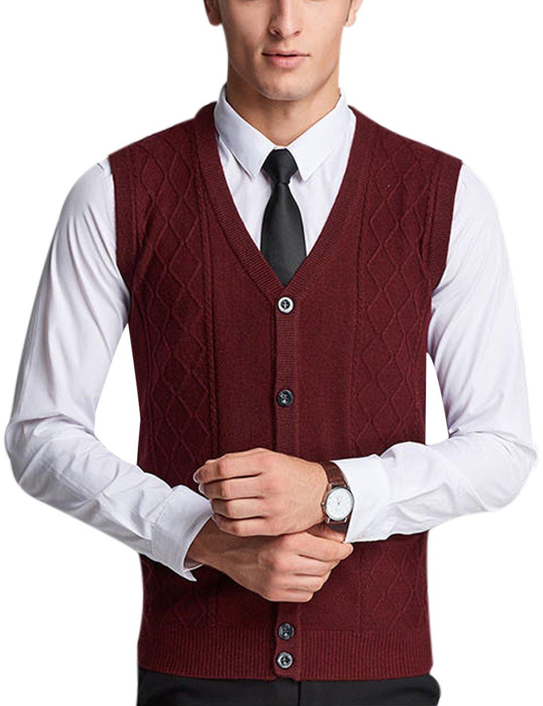 Yeokou Men's Wool V Neck Sleeveless Knitted Button Down Sweater Vest Waistcoat