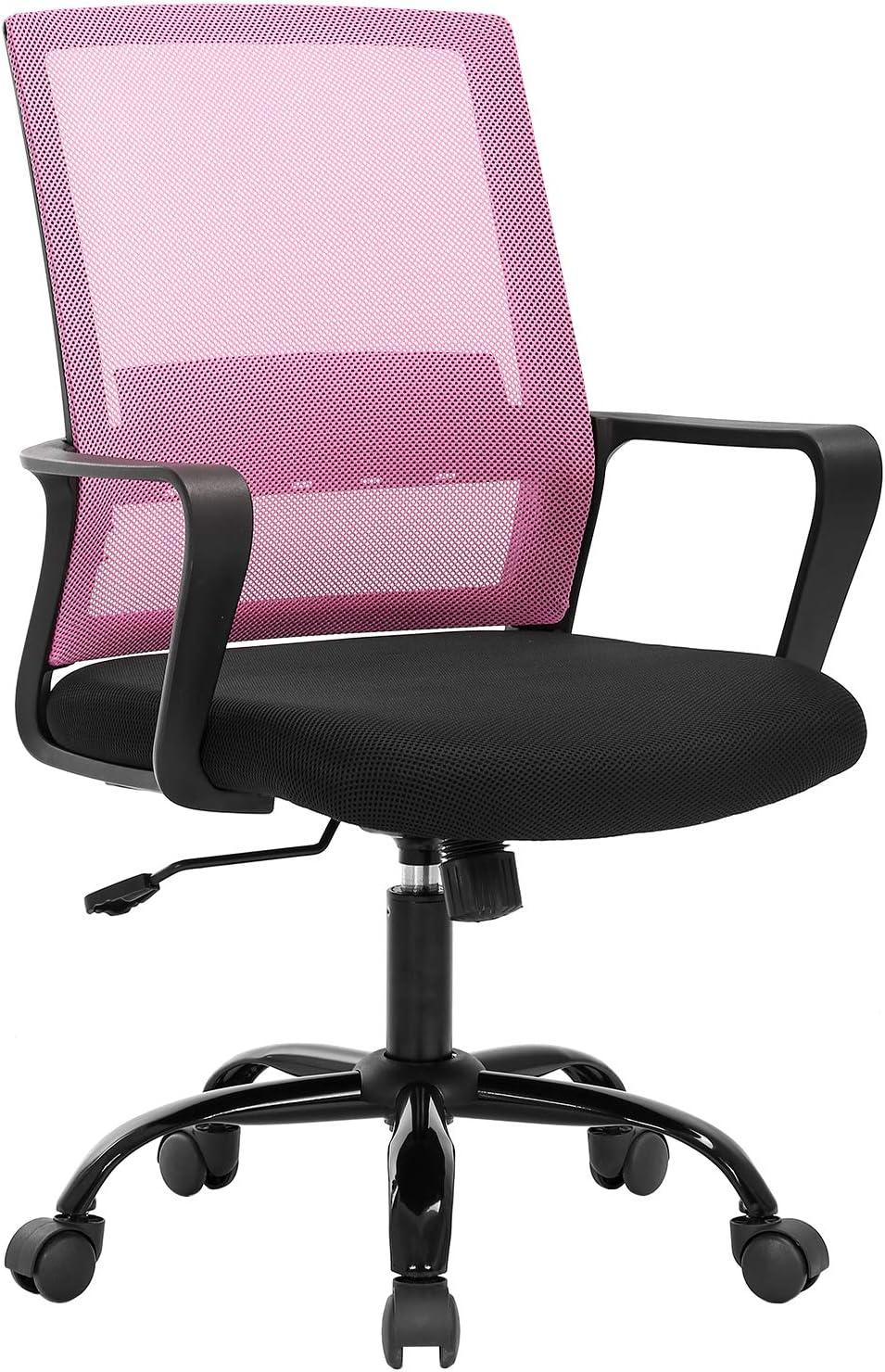 Desk Chair Mesh Office Chair Ergonomic Computer Chair Executive Lumbar Support Adjustable Stool Rolling Swivel Chair,Pink