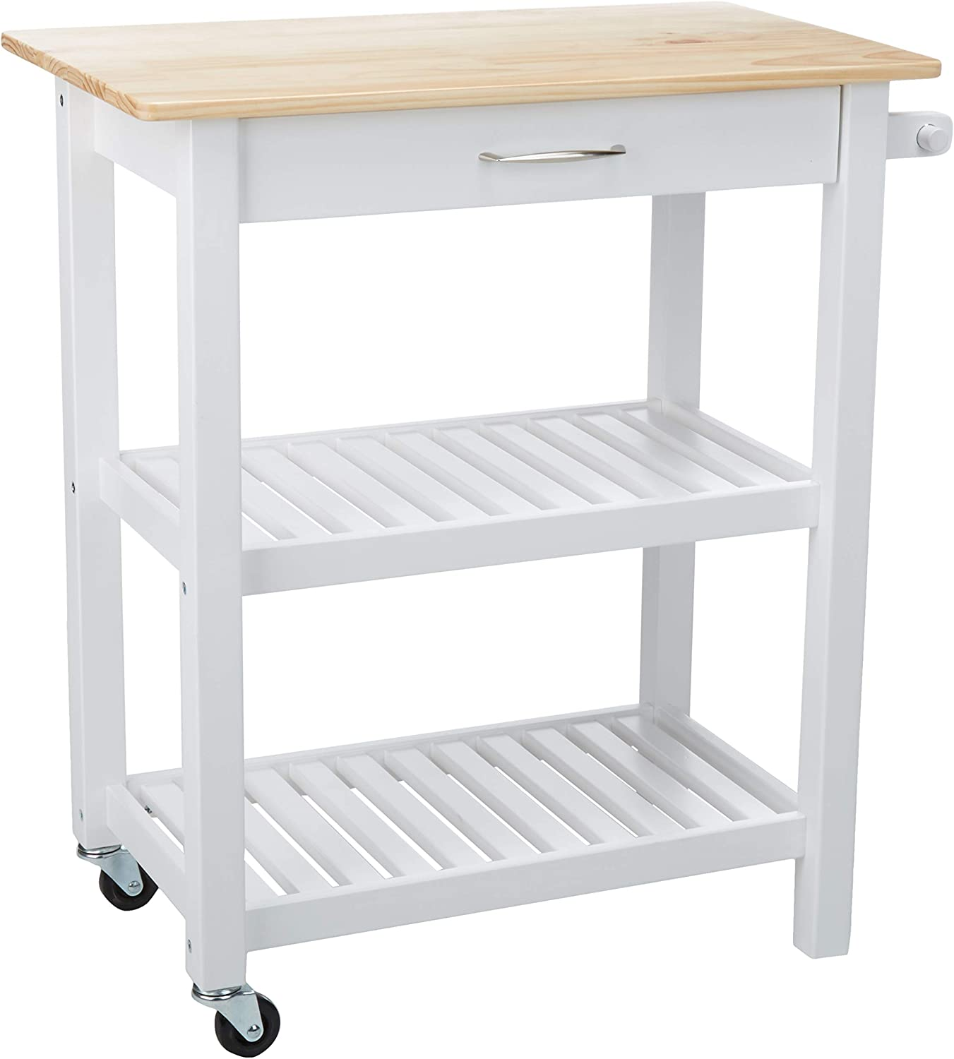 Amazon Basics Multifunction Rolling Kitchen Cart Island With Open Shelves Natural And White Furniture Decor Amazon Com