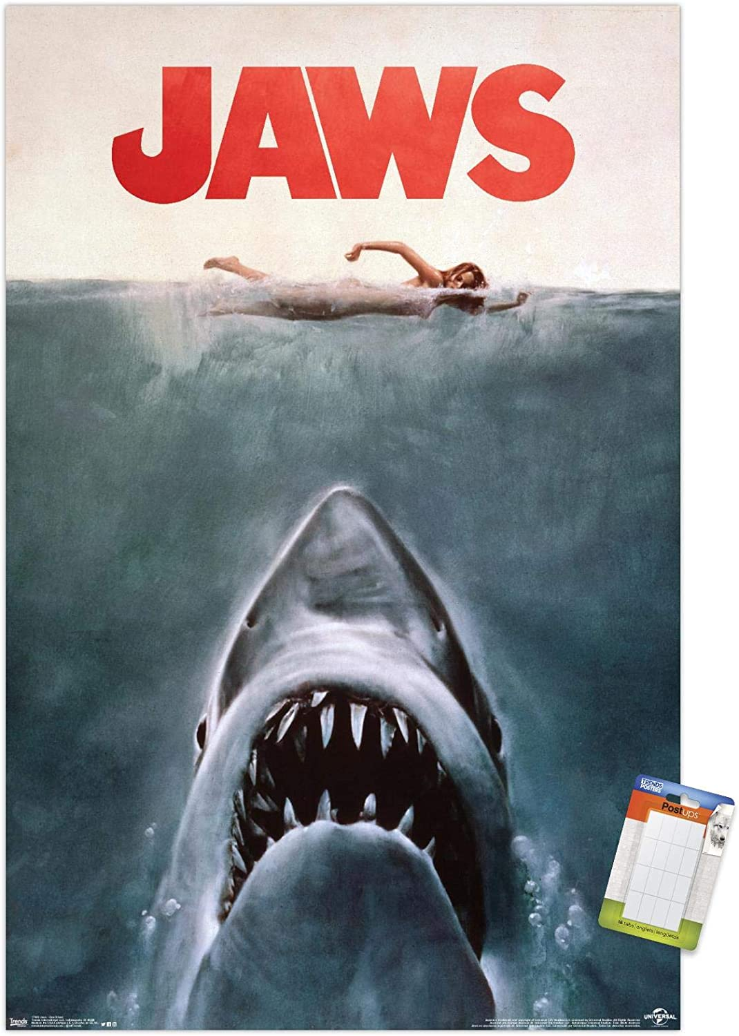 Trends International Jaws-One Sheet Mount Bundle Wall Poster, 22.375