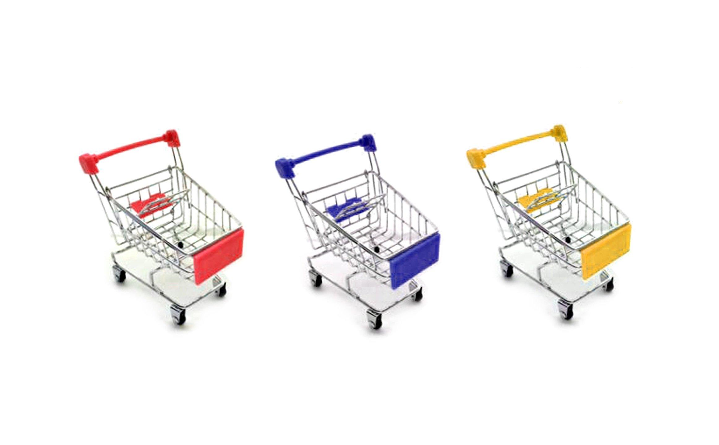 Bestsupplier Mini Supermarket Handcart, 3 Pcs Mini Shopping Cart Supermarket Handcart Shopping Utility Cart Mode Storage Toy by Bestsupplier