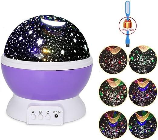 Lámpara de Proyector Giratorio Luz Infantil con 3 Modos LED de ...