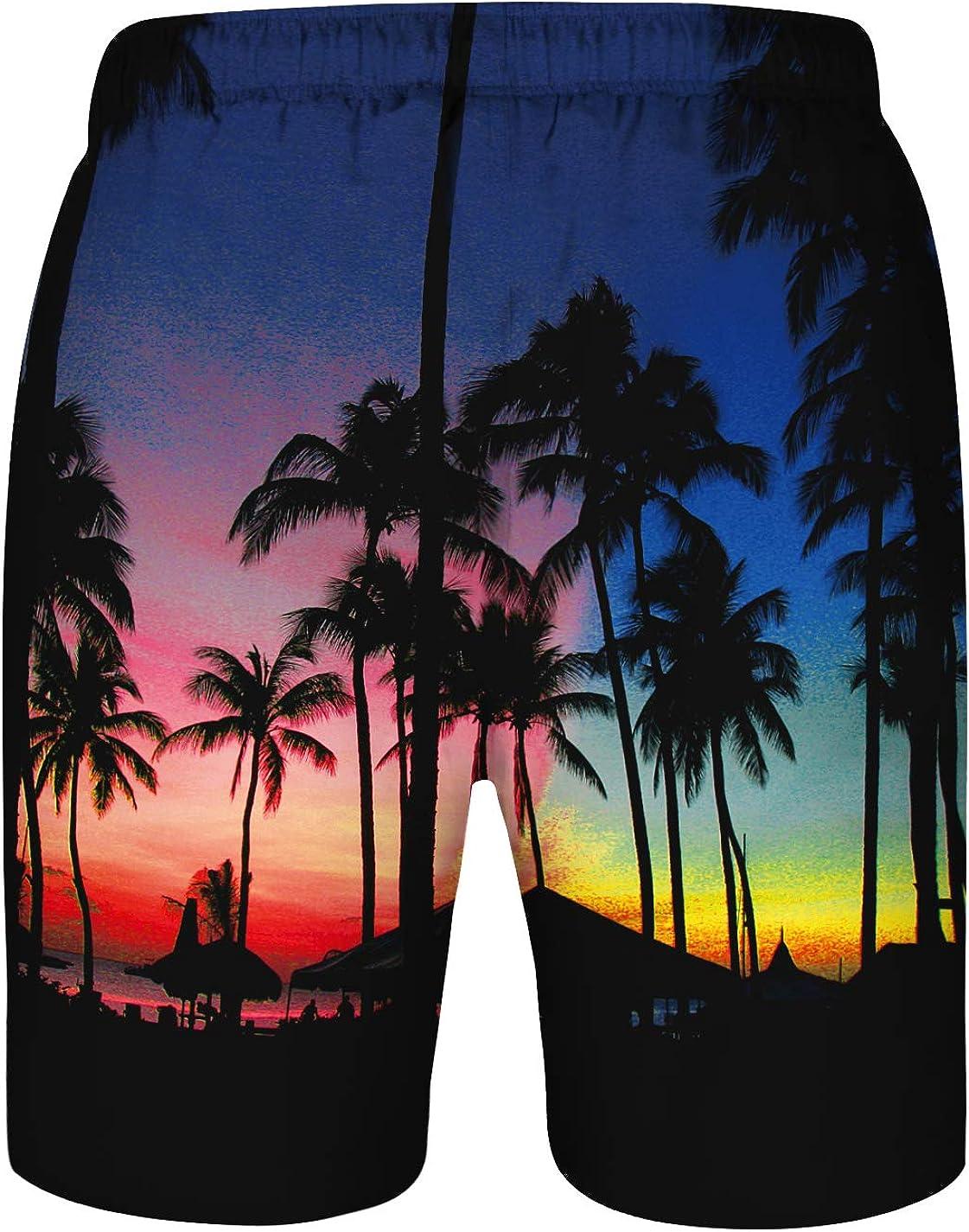 ENLACHIC Mens Swim Trunks Quick Dry 3D Print Beach Boardshorts with Mesh Lining