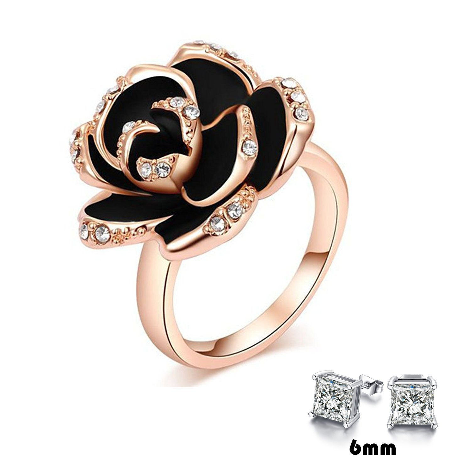 Rose Gold and Black Ring: Amazon.com