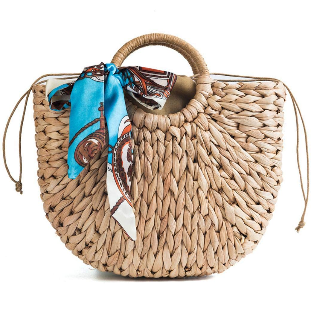 Hand-woven Straw Large Hobo Bag for Women Round Handle Ring Toto Retro Summer Beach (Brown 2)