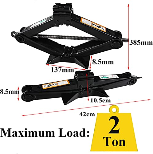 ZhanGe Set of 4, Scissor Jack Levelling Lift Stabilizer Floor Jack w 4 Crank Handles 4400lbs 2 Tons for Car Truck RV Camper Trailer, Heavy Duty Solid Steel