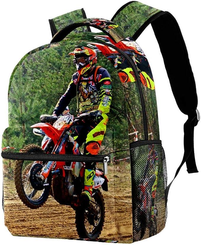 Dirt-Bike Motocross Motorcycle Print Custom Unique Casual Backpack School Bag Travel Daypack Gift