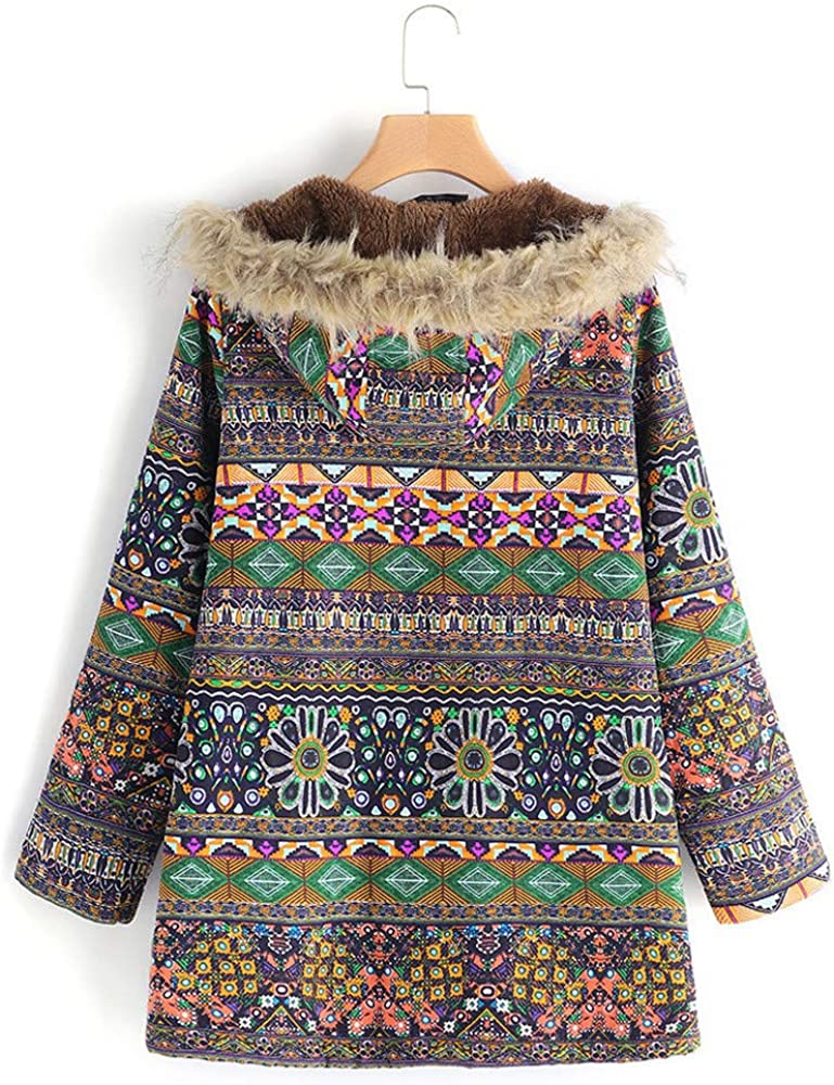 Womens Coats,Plus Size Ethnic Floral Print Hooded Parka Jacket Ladies Girls Zipper Plush Coats Zulmaliu