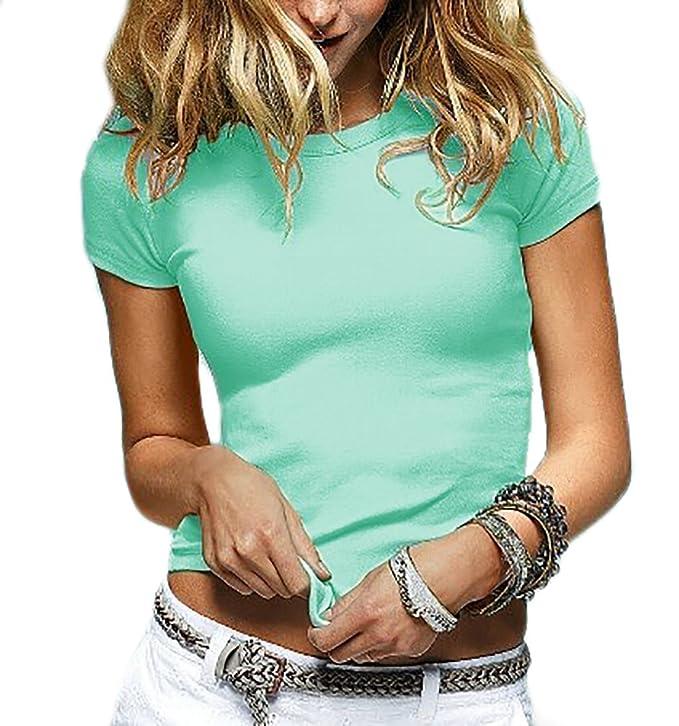 Damen Sommer Shirt Kurzarm Damen Top Rundhalsausschnitt Fit BASIC  Baumwollqualität S/M (155) (Beige): Amazon.de: Bekleidung