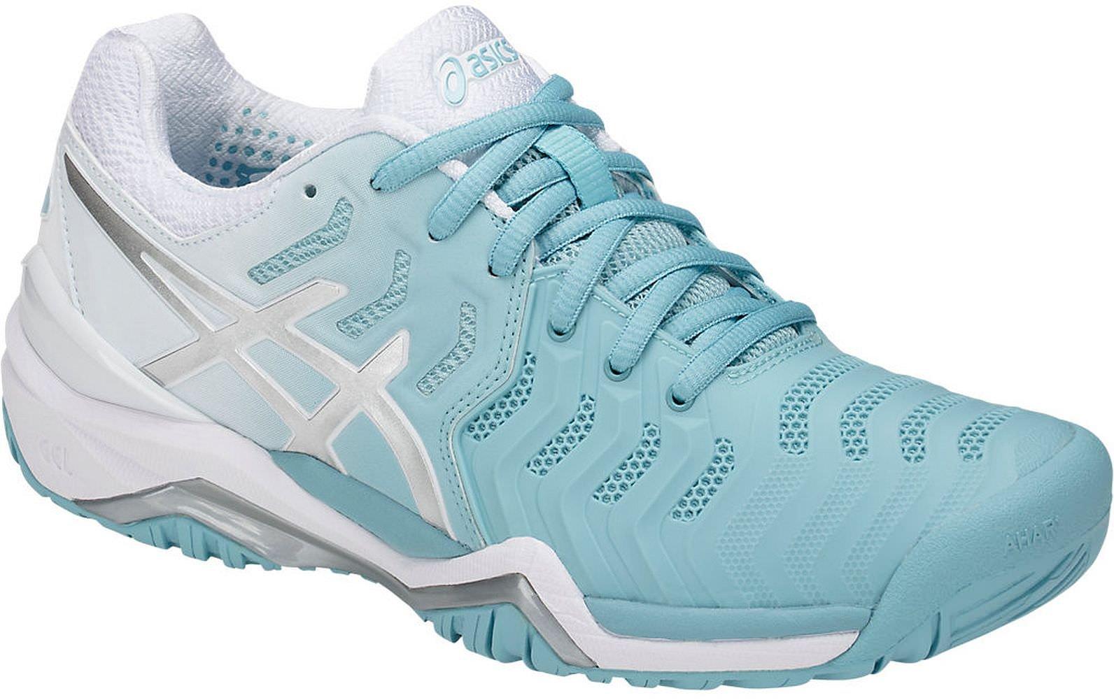 Asics Women's Gel-Resolution 7 Tennis-Shoes, Porcelain Blue/Silver/White (7.5 Medium US)