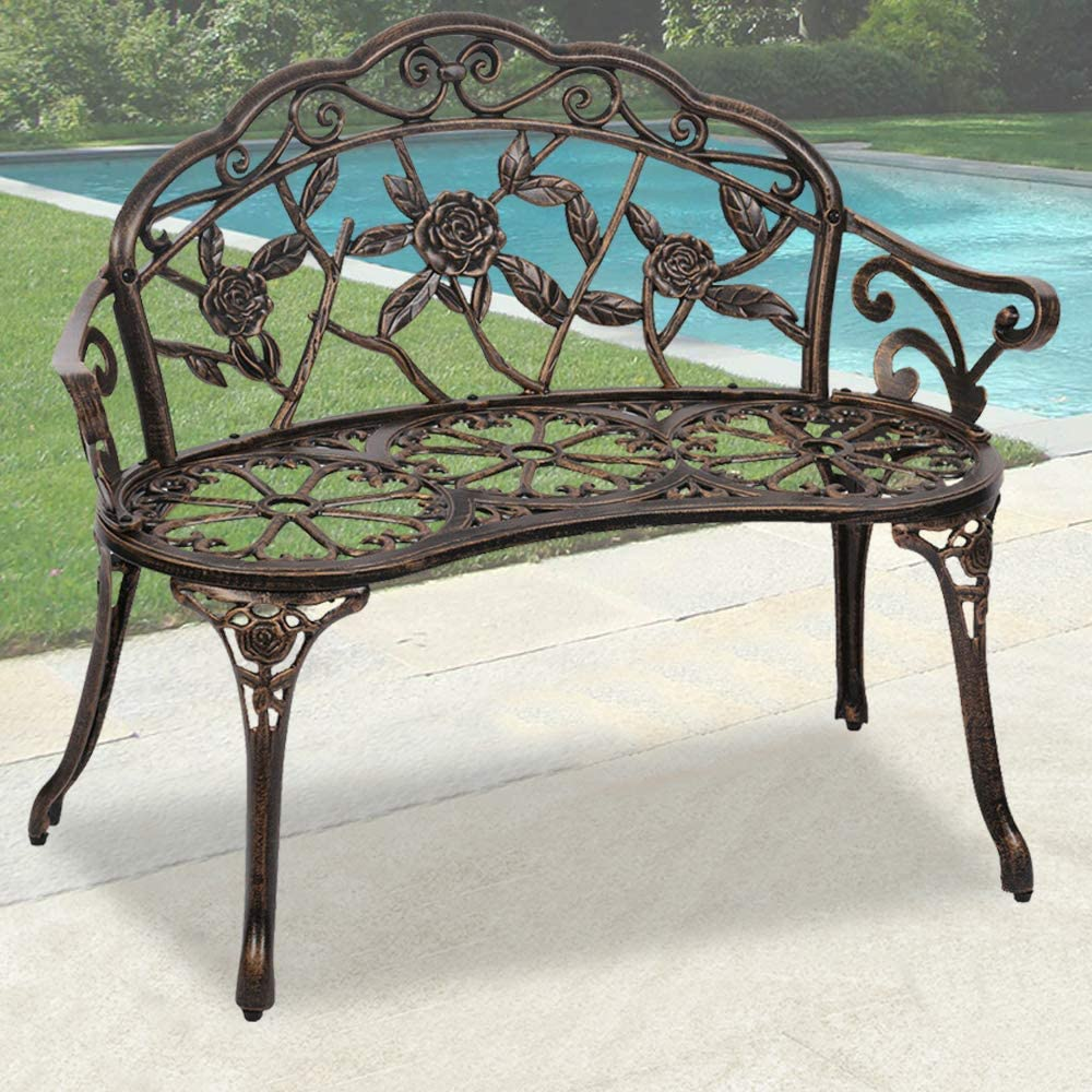 Garden Bench Outdoor Bench Park Benches for Outdoors Metal Aluminum Porch Chair Seat Furniture Perfect for Patio Park Yard Deck Entryway, Floral Rose Accented Bronze