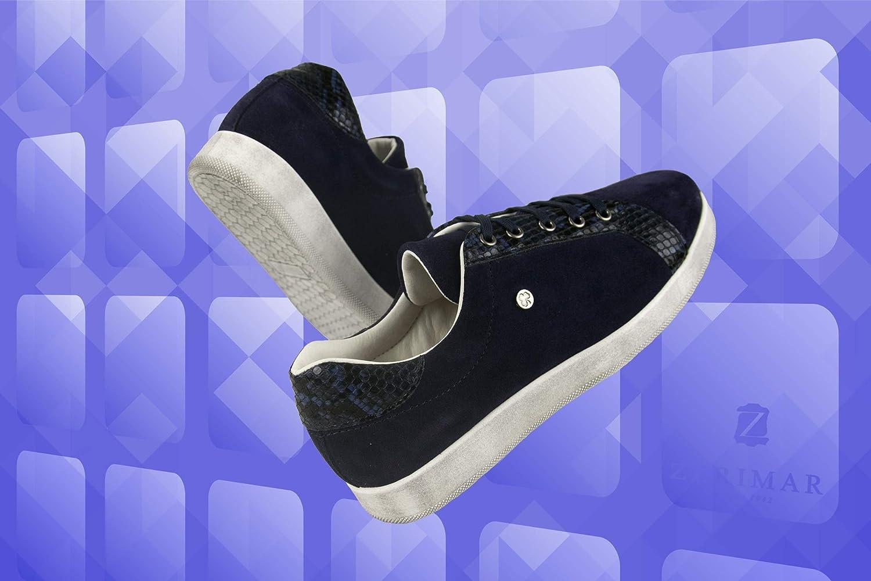 Zerimar Leren damessneakers | Platte schoenen Dames leer | Leren damessneakers | Vrijetijdsschoenen Dames Leer | Leren damessneakers Marineblauw