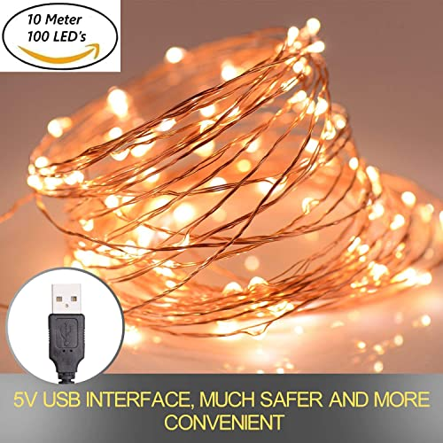 xergy 10 meter 100 leds fairy string usb powered copper wire diwali decoration lights warm