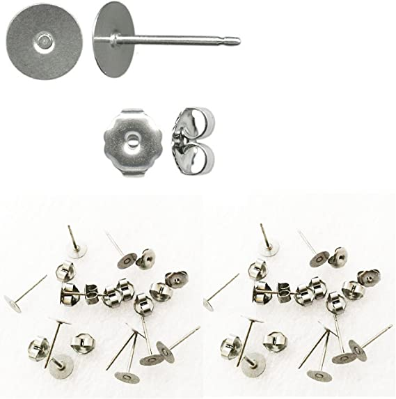No allergies! 10 titanium ear posts 6 mm