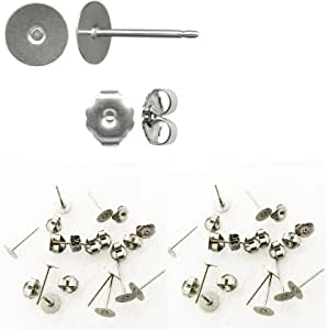 600Pcs 3 Size Stainless Steel Earring Posts Hypoallergenic Flat Pad Earring Studs with 300Pcs Butterfly Earring Backs 300Pcs Silicone Bullet Earring Backs for Jewelry Making Findings