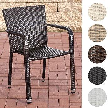 CLP Polyrattan Gartenstuhl LEONIE | Outdoor Stapelstuhl Mit Armlehnen | In  Verschiedenen Farben Erhältlich