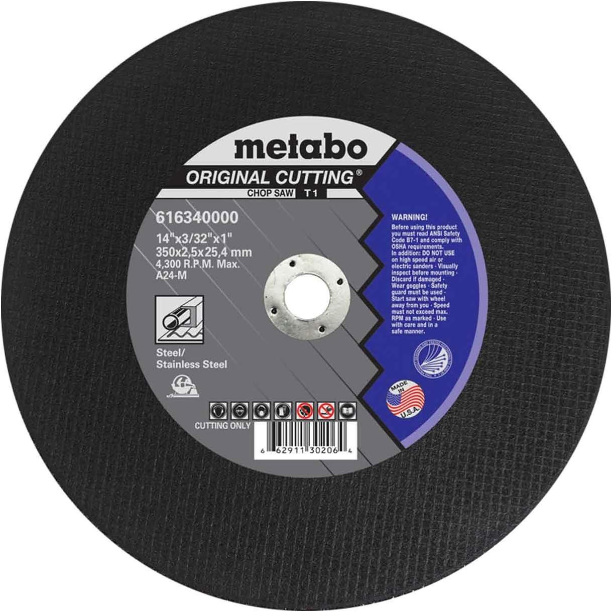 Metabo 616340000 14 x 3//32 x 1 Original Slicer A24M Chop Saw 10 pack