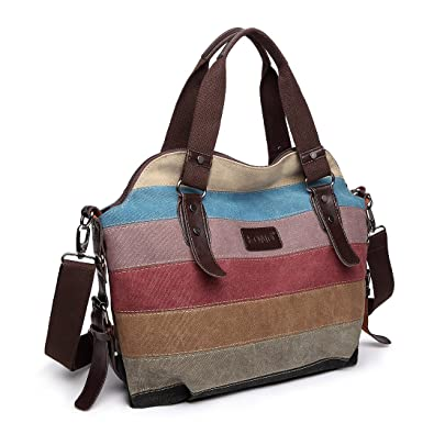 c9edede80 Kono Women Canvas Rainbow Multi-Color Striped Hobo Handbag Cross Body Messenger  Shoulder Bag Satchel