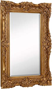 "Hamilton Hills Large Ornate Gold Baroque Frame Mirror | Aged Luxury | Elegant Rectangle Wall Piece | Vanity, Bedroom, or Bathroom | Hangs Horizontal or Vertical | 100% (24"" x 36"")"