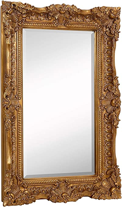 Amazon Com Hamilton Hills Large Ornate Gold Baroque Frame Mirror Aged Luxury Elegant Rectangle Wall Piece Vanity Bedroom Or Bathroom Hangs Horizontal Or Vertical 24 X 36 Home Kitchen