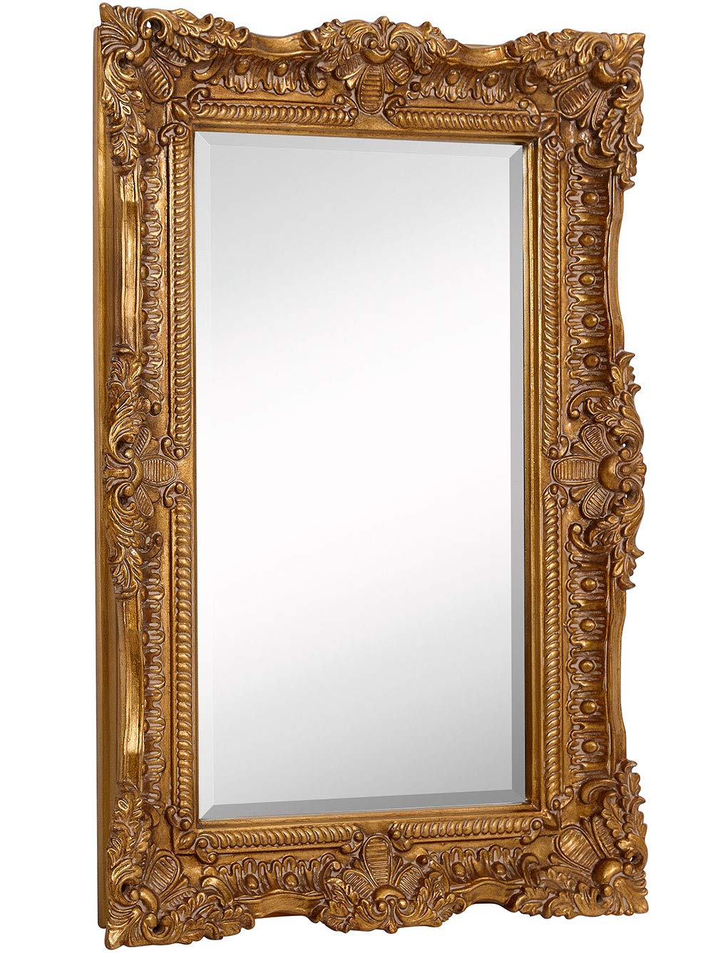 Hamilton Hills Large Ornate Gold Baroque Frame Mirror | Aged Luxury | Elegant Rectangle Wall Piece | Vanity, Bedroom, or Bathroom | Hangs Horizontal or Vertical | 100% (24'' x 36'') by Hamilton Hills