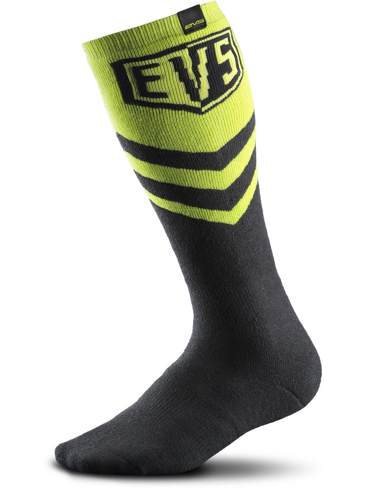 EVS Sports unisex-adult Coolmax Moto Sock (Hi-Viz Yellow, Large), 1 Pack