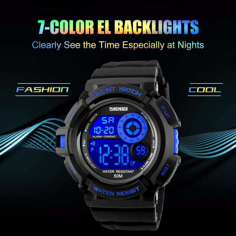 Reloj deportivo digital Aposon para hombre, pantalla grande con retroiluminación LED, estilo militar e informal, resistente al agua, diseño electrónico con ...