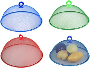 DEDEMCO 4Pcs Round Metal Mesh Food Cover, 13.7 Inch Outdoor Picnic Mesh Screen Food Cover Tents Umbrella, Reusable Food Protector Net for Keep Out Flies Bugs Mosquitoes (Color Random)