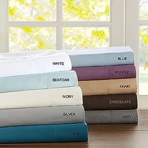 Sleep Philosophy SHET20-249 300TC Liquid Cotton Sheet Set Queen Seafoam