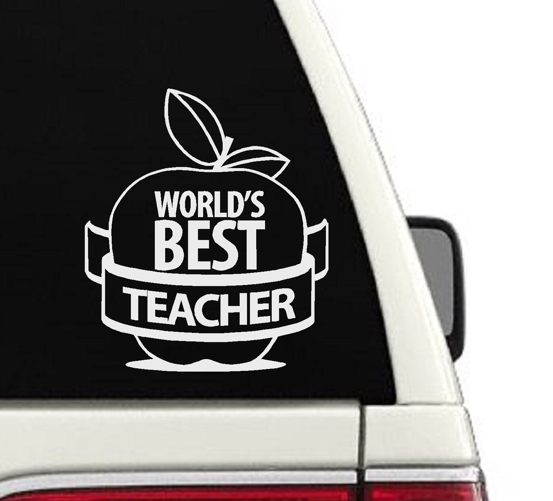 Amazon com worlds best teacher custom car decal cd52 handmade