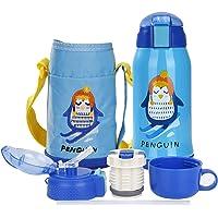 Botella Termo Agua para Niños con Bolsa para Viajar, Aislado al Vacío Botellas Agua Acero Inoxidable sin bpa con Paja…