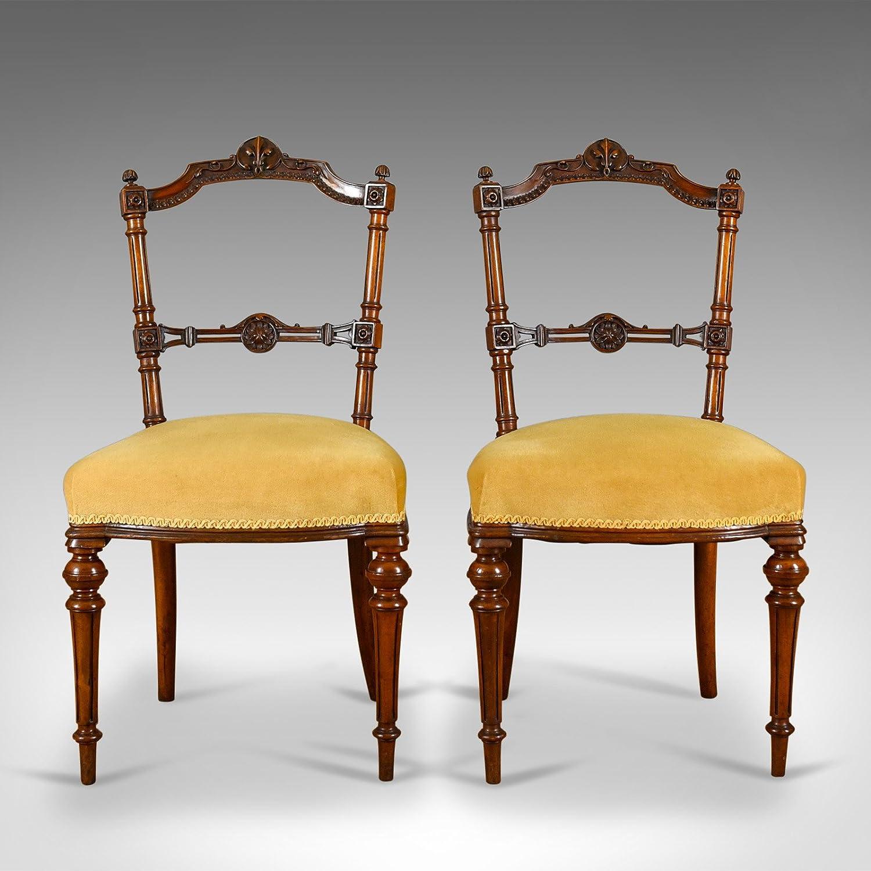 London Fine Antiques - Par de sillas Antiguas, inglés, Nogal ...