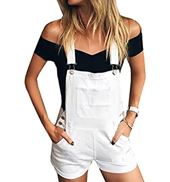 special discount of select for clearance 2019 professional Amazon.com: Inorin Women Overalls Black Denim Bib White ...