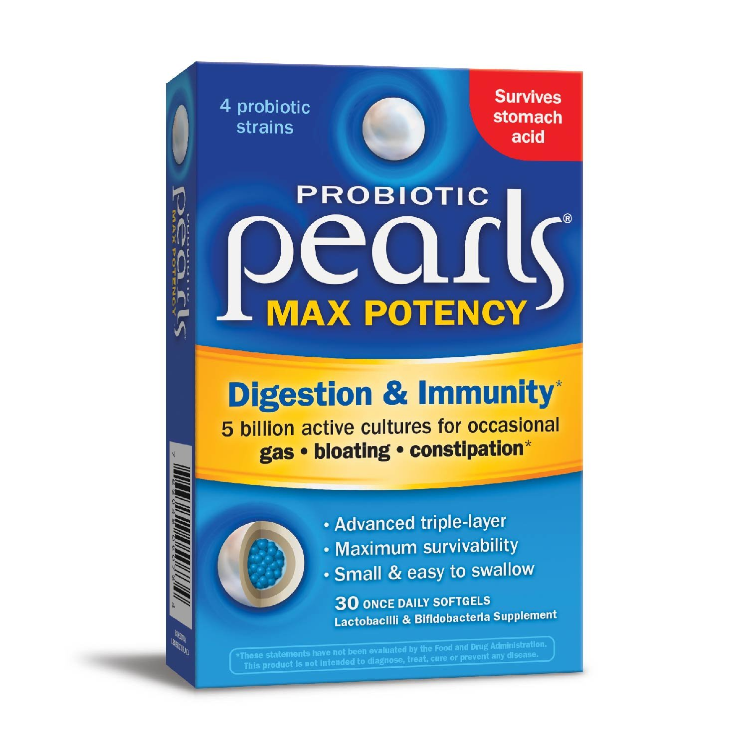 Enzymatic Probiotic Pearls Max Potency 5 Billion Active Cultures with Advanced Triple-Layer, 30 Count