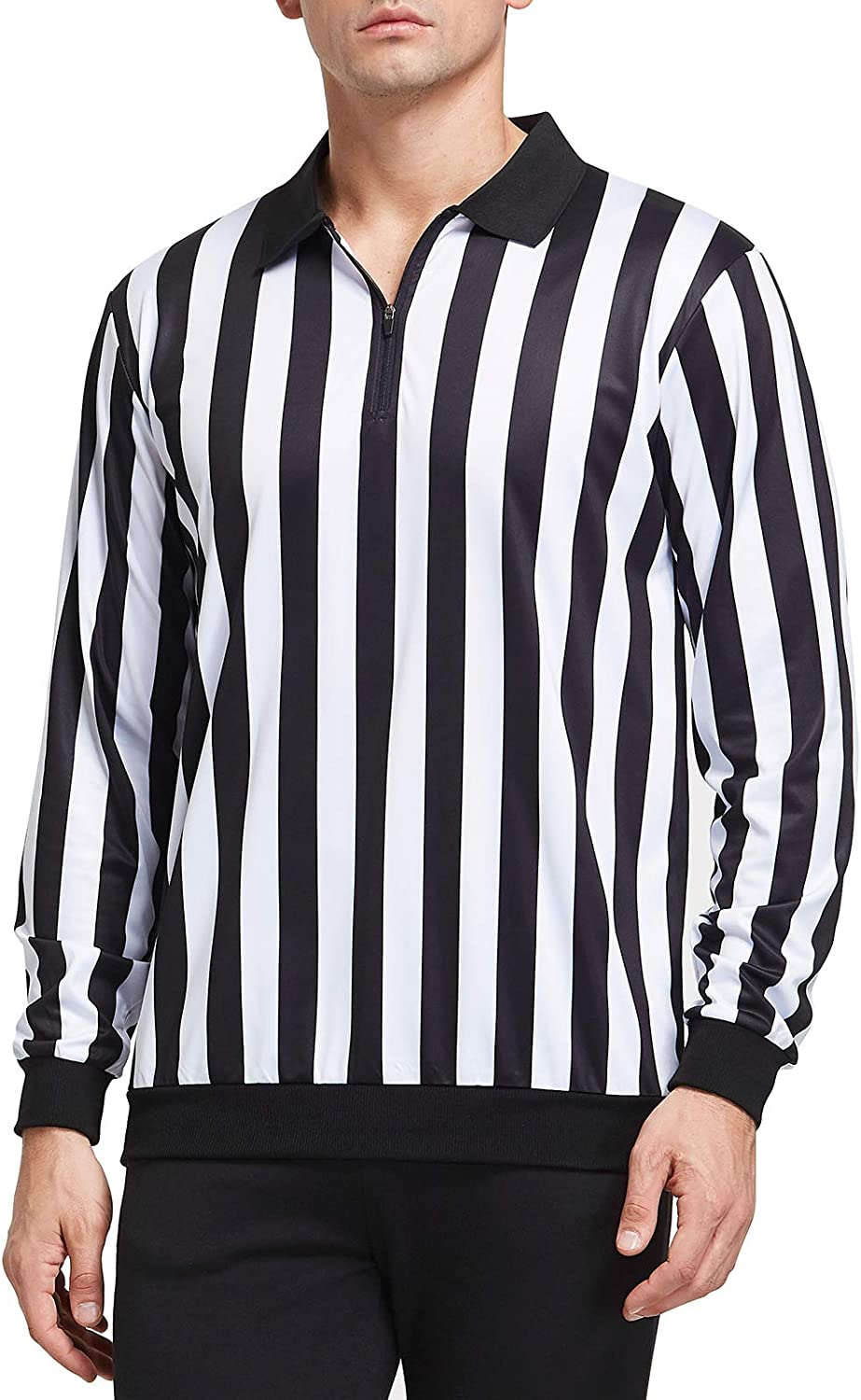 FitsT4 Official Long Sleeve Black & White Stripe Referee Shirt