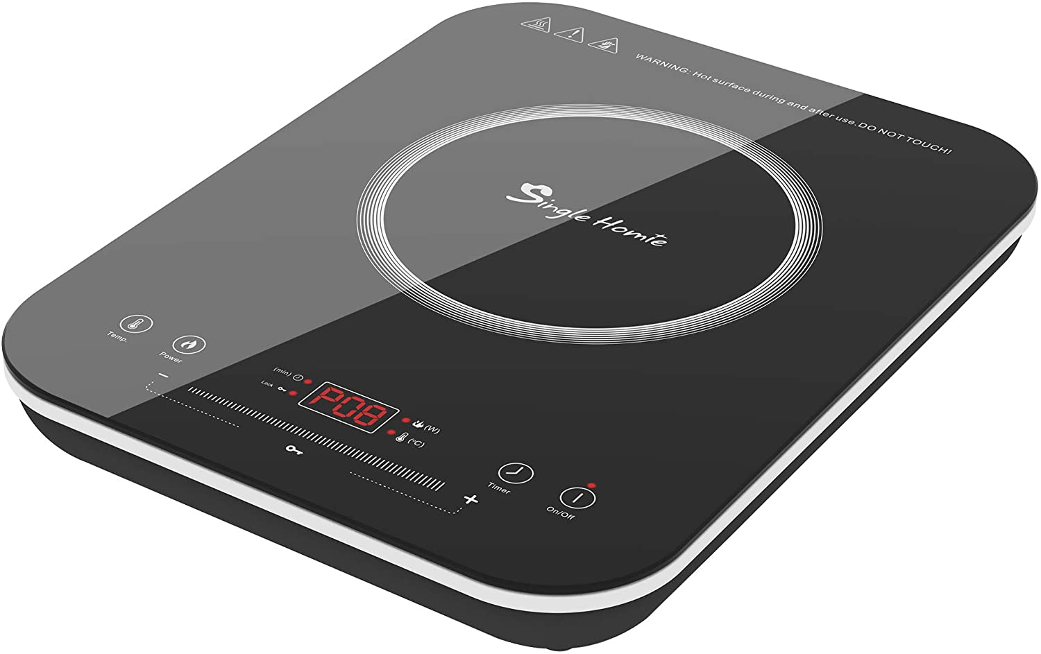 "12"" Portable Induction Cooktop, SINGLEHOMIE1800W Cooker Countertop Burner, Touch Sensor LED Display Plug-in 110-120V / 1800W"
