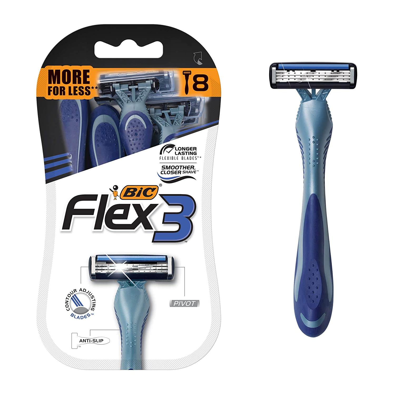 BIC Flex 3 Men's 3-Blade Disposable Razor, 8 Count