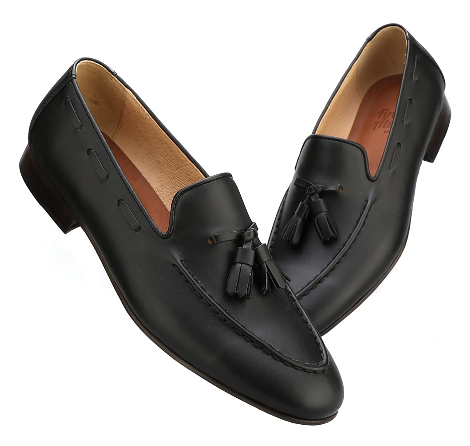 Black Firenze Atelier Men's Handmade Full Grain Leather Tassel Slip-On Loafers Penny Loafers