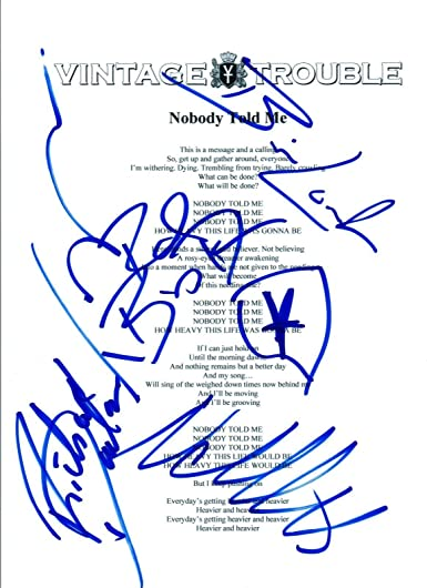 Vintage Trouble Full Band Signed Autographed Nobody Told Me Lyric Sheet Coa At Amazon S Entertainment Collectibles Store Nobody told me lyrics by david ball: band signed autographed nobody told