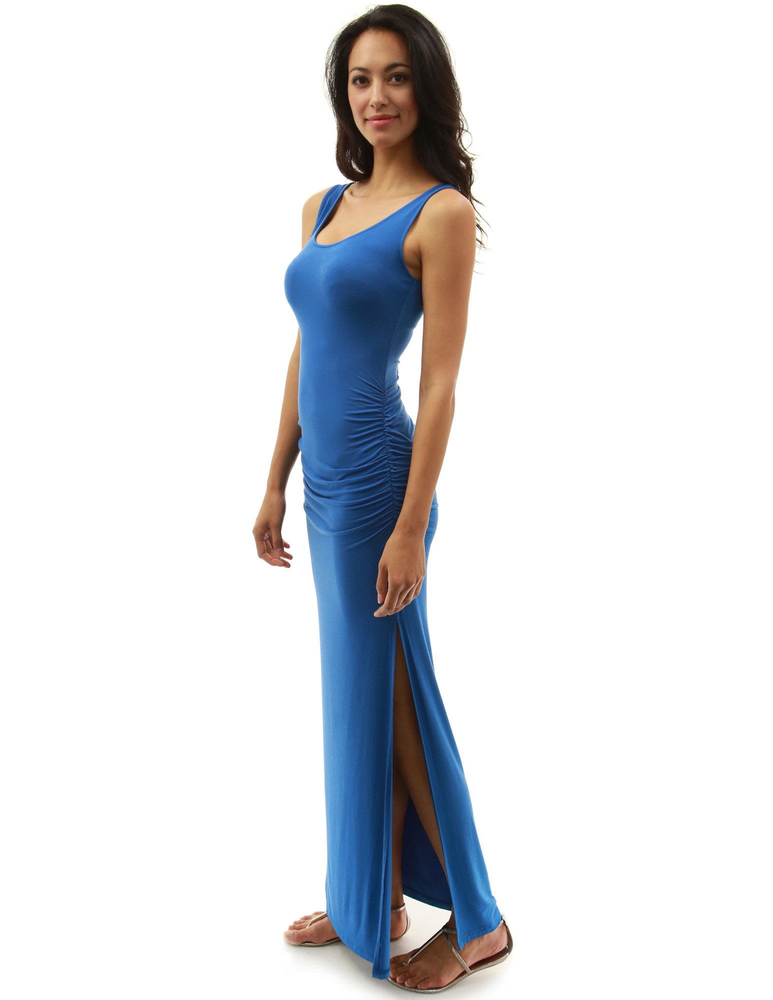 PattyBoutik Women's Sleeveless Summer Maxi Dress (Moderate Azure M)
