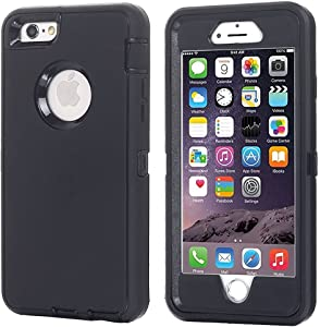 iPhone 6 Case, iPhone 6S Case [Heavy Duty] AICase Built-in Screen Protector Tough 3 in 1 Rugged Shockproof Cover for Apple iPhone 6/6S (Black)