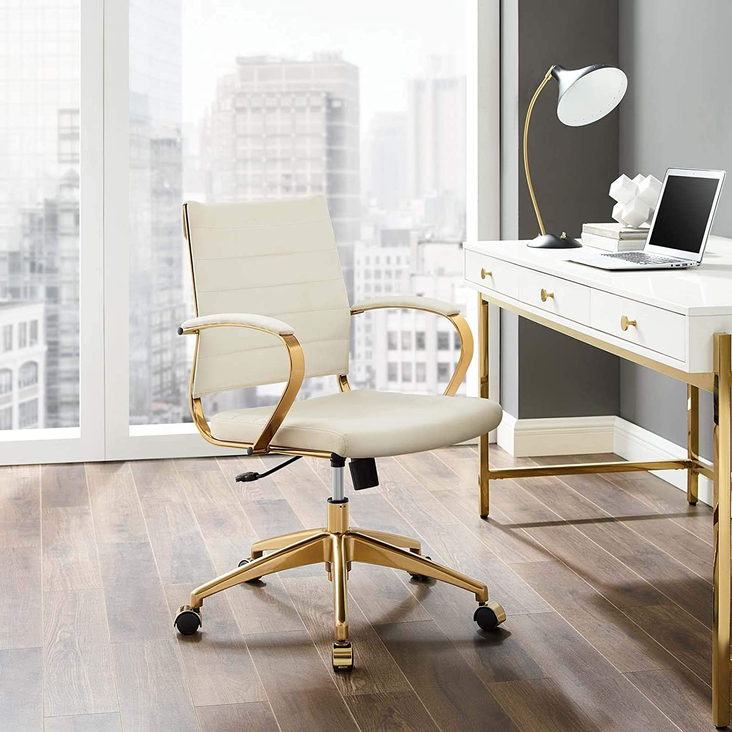 Amazon Com Modway Jive Ribbed Performance Velvet Mid Back Computer Desk Swivel Office Chair In Ivory Furniture Decor