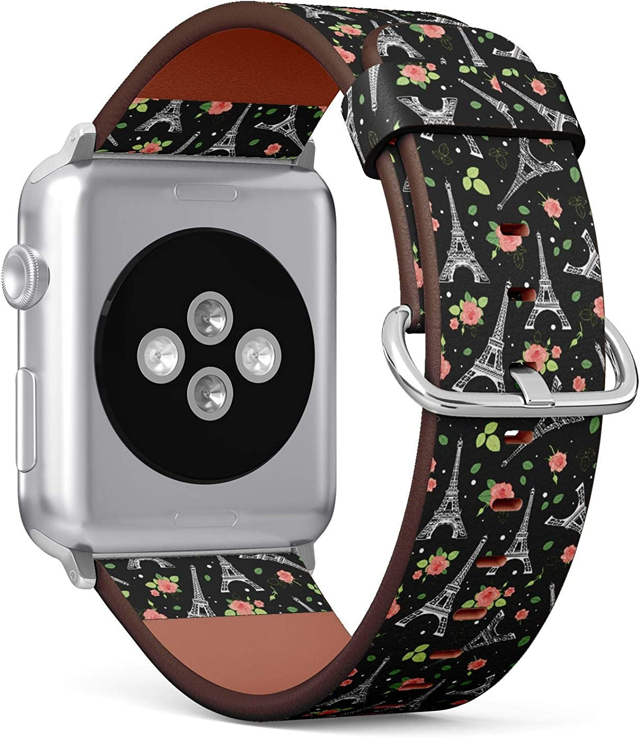 ( Eifel Tower Paris and Roses Flowers Pattern )Patterned Leather Wristband Strap for Apple Watch Series 4/3/2/1 gen ,Replacement for iWatch 38mm / 40mm bands