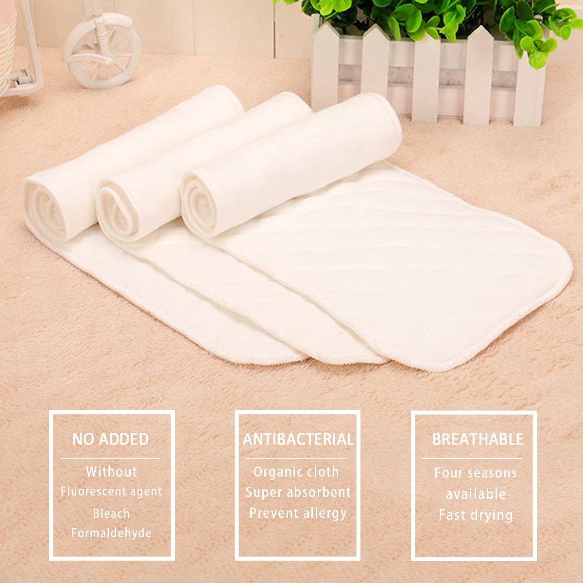 SONARIN Reutilizable tela suave pañal inserciones pañales liners súper absorbente de agua esteras,Forros para pañales, paquete de 20(3 capas): Amazon.es: ...
