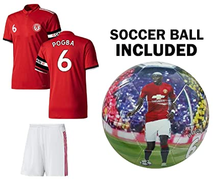 info for 84dc7 25b8a MFC Pogba Jersey Youth #6 Kids Soccer Jersey + Shorts + Gift = Premium Gift  Kids Boys Girls Football Paul Pogba 6