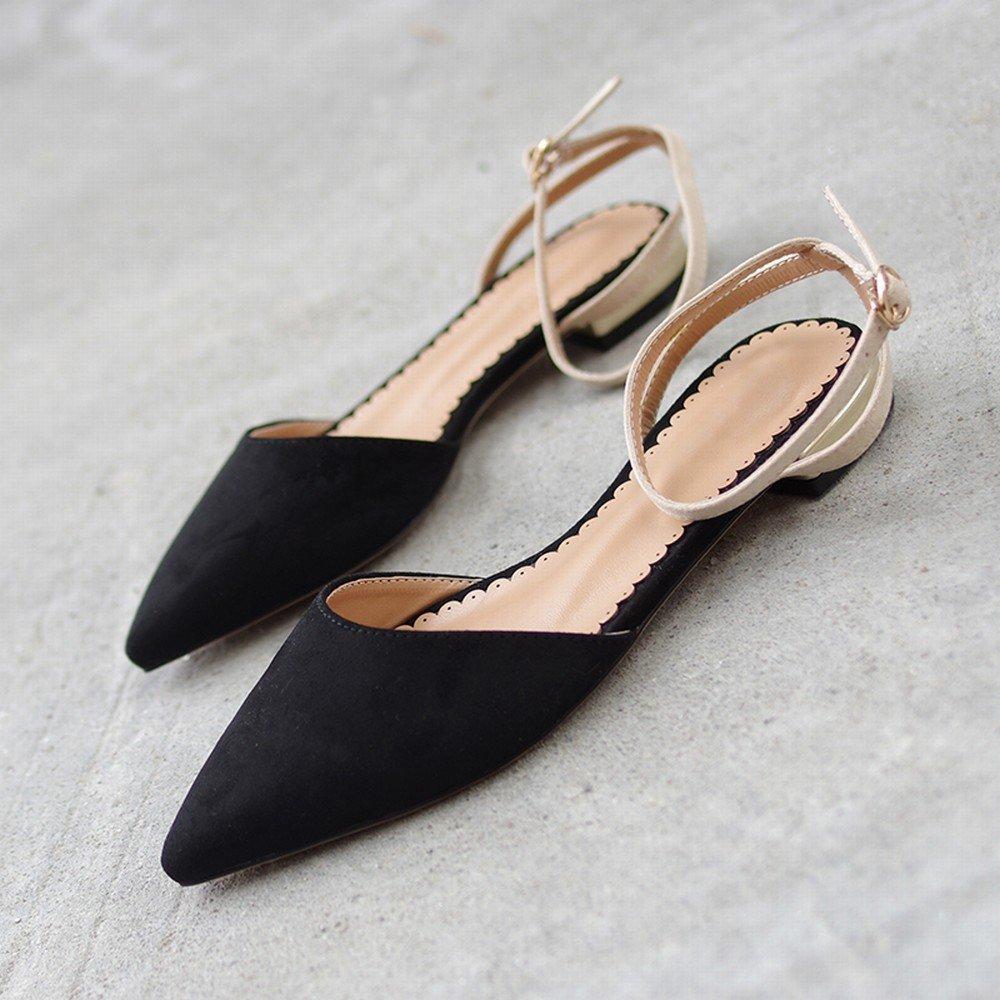 DIDIDD Baotou Wilde Spitze Retro Schuhe Mode Rot Fee Schuhe Retro Schwarz 38 0360a6