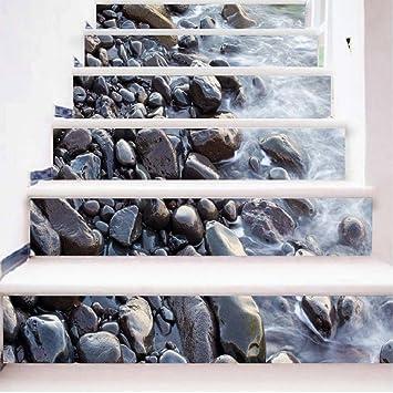 Gpfdm 3d Pierres Dans La Riviere Autocollants Pour Escaliers Paysage