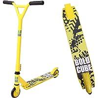 BOLDCUBE Stunt Scooter Stunt Roller - Freestyle Tretroller Pro 360 Grad Trick - Feste Stange - Leichtes Aluminiumdeck - ABEC 7 Lager - Vierfachklammer - Für Erwachsene und Kinder (Gelb & Weiß)