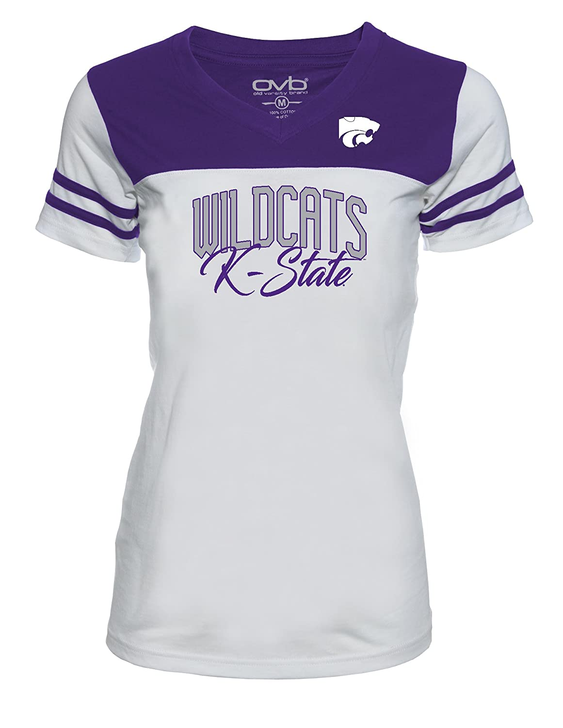 Old Varsity Brand NCAA Kansas State Wildcats Womens JRS Football T-Shirt Small White//Purple